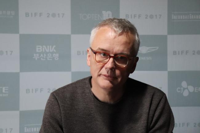 Christophe Terhechte speaks to The Korea Herald on Saturday at the Busan Cinema Center. (Park Ju-young/The Korea Herald)