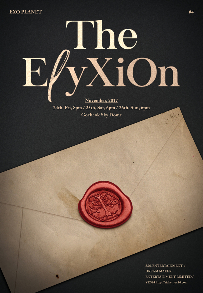 """A promotional poster for """"EXO Planet #4 -- The ElyXiOn"""" (S.M. Entertainment)"""