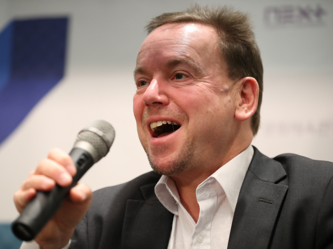 UK foundation Nesta's Chief Executive Geoff Mulgan speaks to reporters at the Next Content Conference at Coex in Seoul, Monday. (Yonhap)