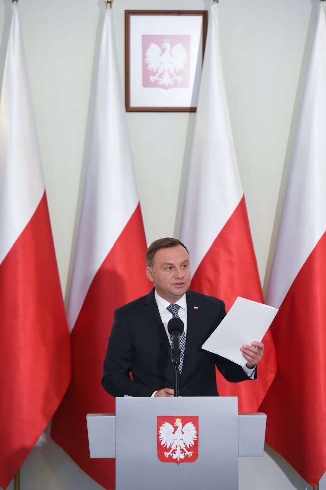 President of Poland Andrzej Duda speaks during the press conference in the Presidential Palace in Warsaw, Poland, 25 September 2017. President Duda presented his draft legislation to reform the Supreme Court (SN) and the National Council of Judiciary (KRS). In July 2017, Duda vetoed Supreme Court and National Judiciary Council bills voted by the Polish Sejm's majority. Large protests have been held across Poland over rules passed 20 July by the ruling party that would limit the independence of the judiciary. (EPA/Radek Pietruszka)