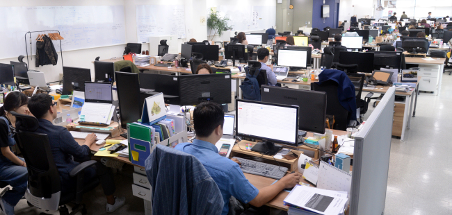 An interior view of Wadiz office in its headquarters in Pangyo Techno Valley, Gyeonggi Province (Park Hyun-koo/The Korea Herald)