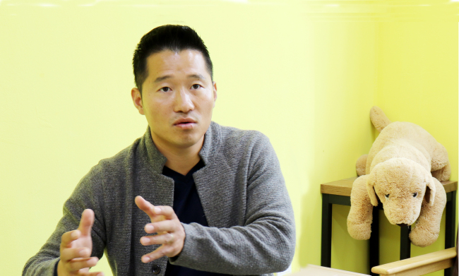 Kang Hyeong-uk speaks during an interview at his office in Namyangju, Gyeonggi Province. (Park Ju-young/The Korea Herald)