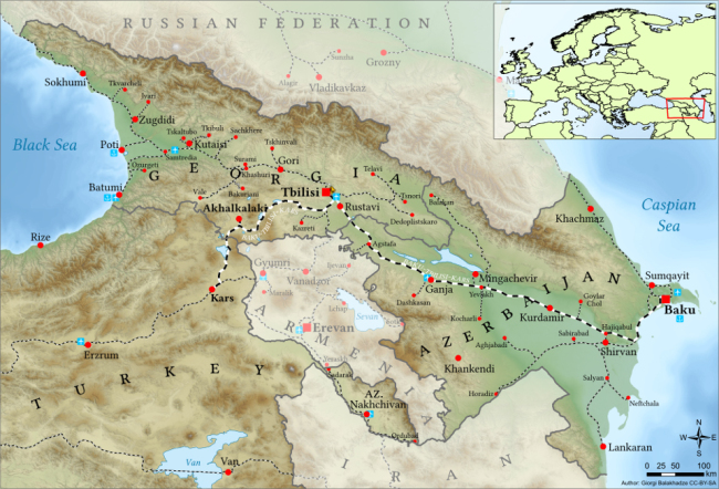 A map shows the Baku-Tbilisi-Kars railway. (Wikipedia)