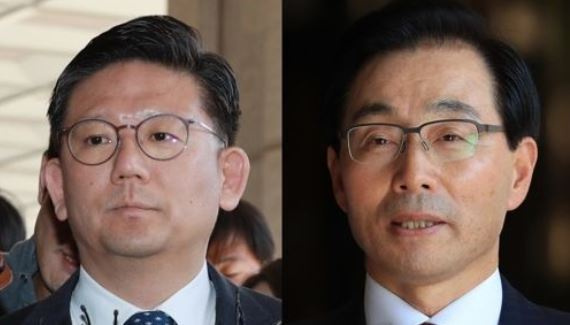 Chang Ho-joong, former chief of the Busan District Prosecutors` Office (L), and Suh Cheon-ho, ex-chief of the NIS domestic unit, are shown in this composite photo filed on Nov. 2, 2017. (Yonhap)