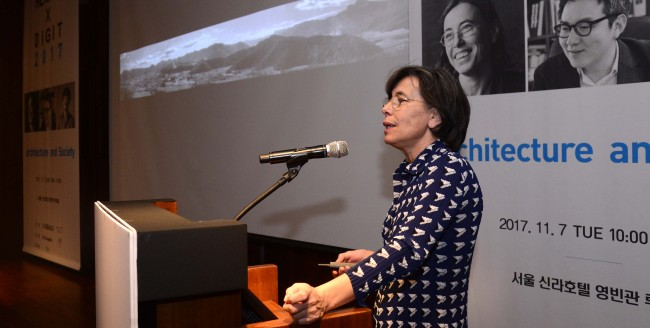 Carme Pigem, a Spanish architect and member of the Pritzker Prize-winning architectural firm RCR Arquitectes, speaks during the HERALD X DGIT session at the Herald Design Forum 2017 held at The Shilla Seoul on Tuesday. (Park Hae-mook/The Korea Herald)
