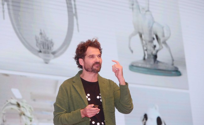 Jaime Hayon speaks at The Herald Design Forum at The Shilla Seoul on Tuesday. (Park Hae-mook/The Korea Herald)