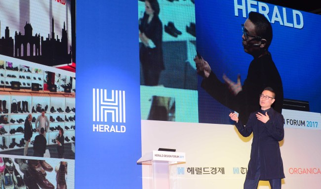 Seok Yong-bae speaks during the second session of Herald Design Forum 2017 at The Shilla Seoul on Tuesday. (Lee sang-sub/The Korea Herald)