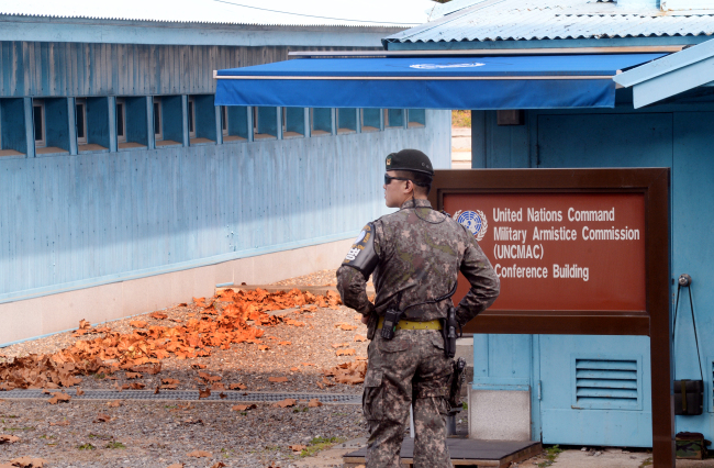 South Korea`s army soldier stands at a conference room inside JSA. Park Hyun-koo/The Korea Herald.