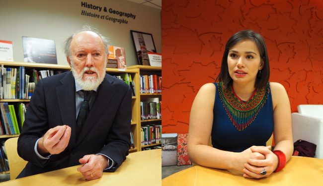 Canadian Arctic scientist John England (left) and Canadian Inuit activist Caitlyn Baikie speak to The Korea Herald about the Arctic region's precious ecosystem and challenges facing Inuit communities, respectively, at the Canadian Embassy in Seoul on Nov. 7 (Joel Lee/The Korea Herald)