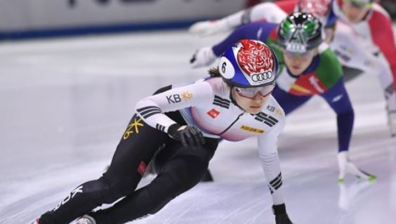 In this Associated Press photo taken Sept. 30, 2017, South Korea`s Choi Min-jeong competes in the women`s 500-meter final during the first leg of the International Skating Union (ISU) World Cup Short Track Speed Skating season at BOK Sports Hall in Budapest. (Yonhap)