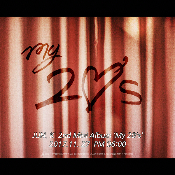 """A teaser image for 2PM Jun.K's upcoming solo EP """"My 20s"""" (JYP Entertainment)"""