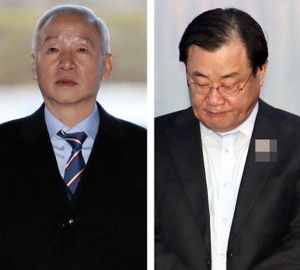 Former NIS chiefs Nam Jae-joon (left), Lee Byung-kee (Yonhap)