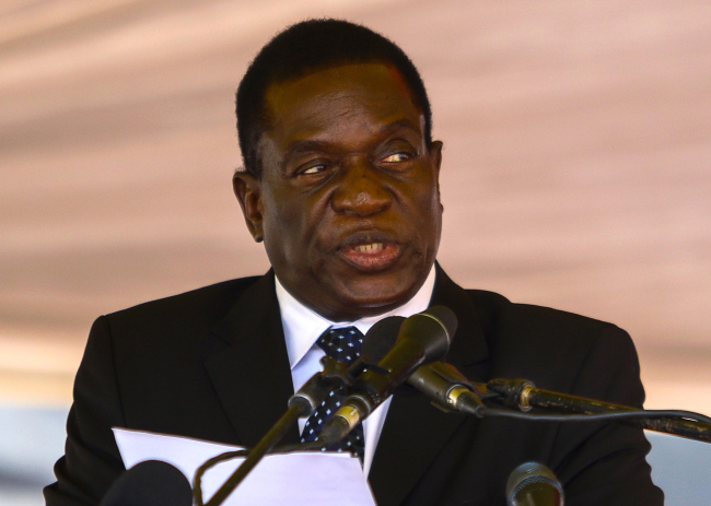 This file photo taken on January 7, 2017 shows Zimbabwe's then acting President Emmerson Mnangagwa speaking during a funeral ceremony in Harare. Mnangagwa has replaced Zimbabwe President Robert Mugabe as the ZANU-PF party chief, according to a party delegate on Nov. 19, 2017. (AFP-Yonhap)