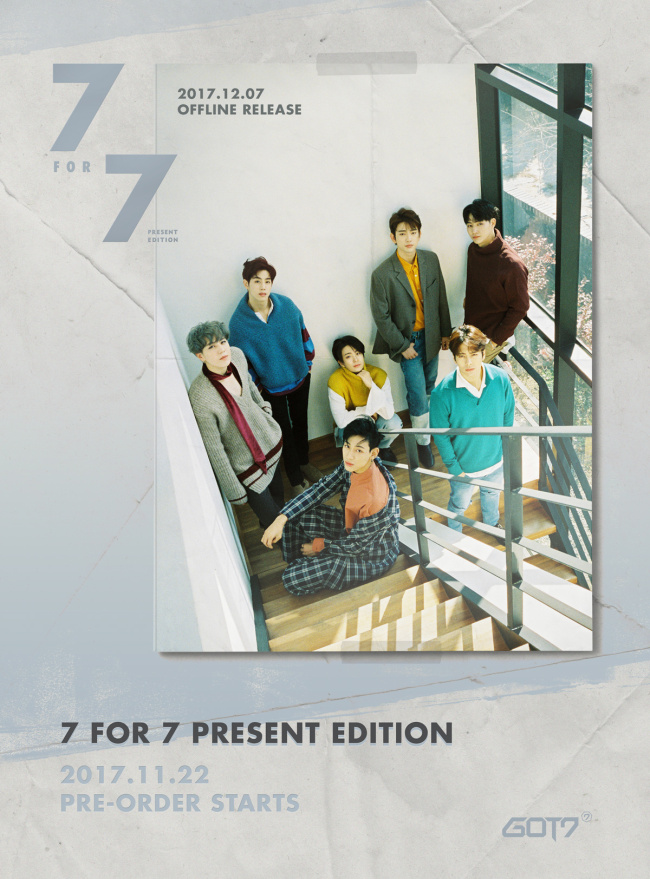 """A poster for GOT7's upcoming repackaged version of its latest album """"7 For 7"""" (JYP Entertainment)"""