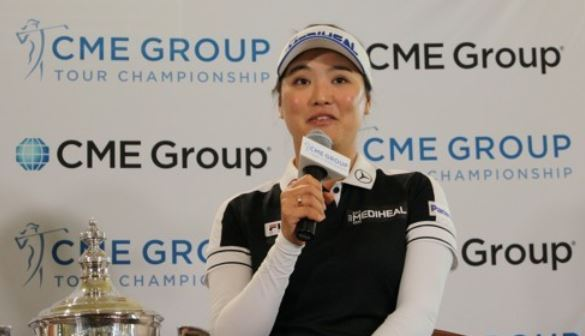 South Korean golfer Ryu So-yeon speaks at a press conference after clinching the LPGA Tour`s Player of the Year honors after the CME Group Tour Championship at Tiburon Golf Club in Naples, Florida, on Nov. 19, 2017. (Yonhap)