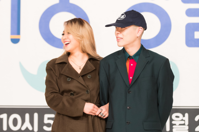 """CL and Oh Hyuk attend a press conference for new reality show """"Livin' the Double Life"""" in Yeongdeungpo-gu, Seoul on Wednesday. (CJ E&M)"""