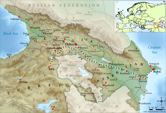 A map of the Baku-Tbilisi-Kars railway that opened on Oct. 30 (Wikipedia)