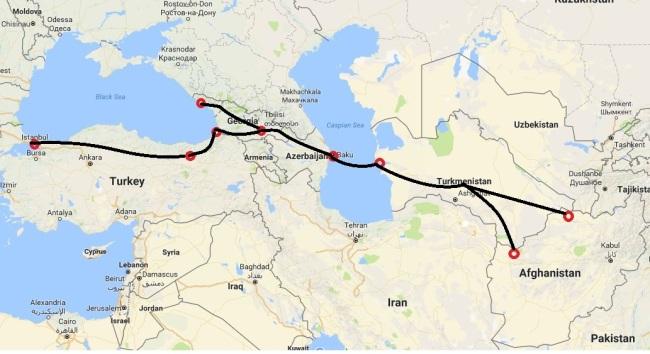 A map of the Lapis Lazuli Economic Corridor linking Afghanistan, Turkmenistan, Azerbaijan, Georgia and Turkey (Caspian News)