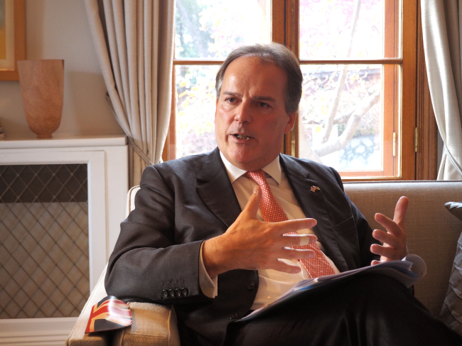 UK Minister of State for Asia and the Pacific Mark Field speaks to The Korea Herald at the British Embassy in Seoul on Friday. (Joel Lee/The Korea Herald)