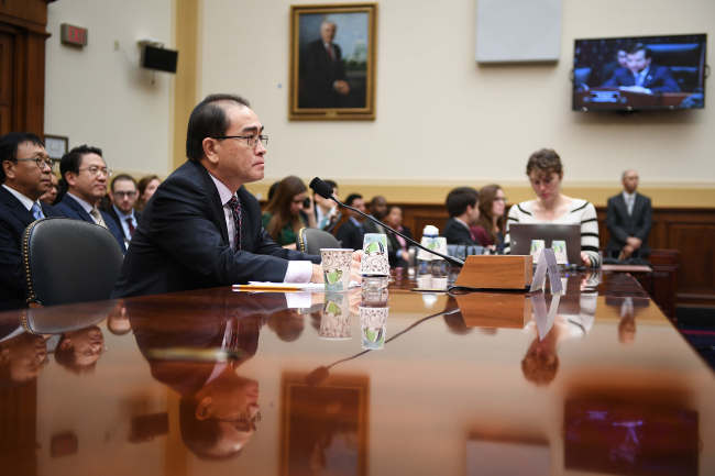 Thae Yong-ho, former chief of mission at the North Korean embassy in the United Kingdom, testifies during a House Foreign Affairs Committee hearing on Capitol Hill, November 1, 2017 in Washington, DC. (Getty Images)
