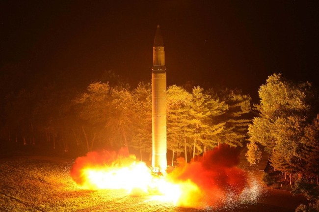 North Korea test-fires a Hwasong-14 intercontinental ballistic missile in July. (Yonhap)