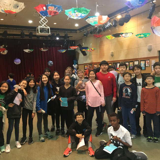 Korea International School students pose for a photo during its art creativity event at school. KIS