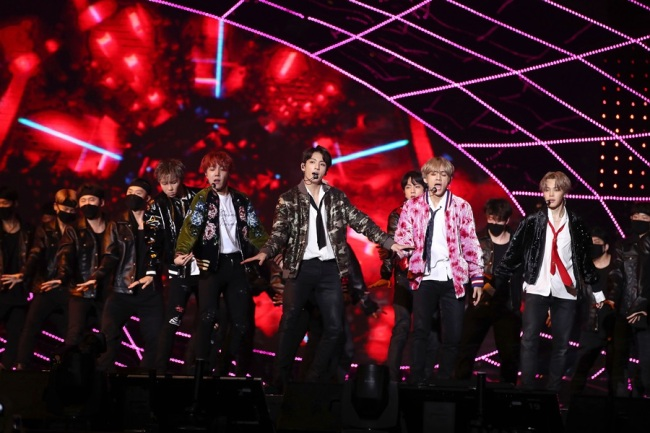 BTS performs at the Mnet Asian Music Awards at the Hong Kong Asia World Expo Arena on Friday. (Yonhap)