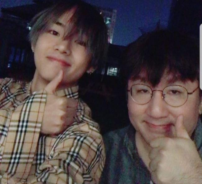 BTS` V with Bang Shi-hyuk (BTS` Instagram)
