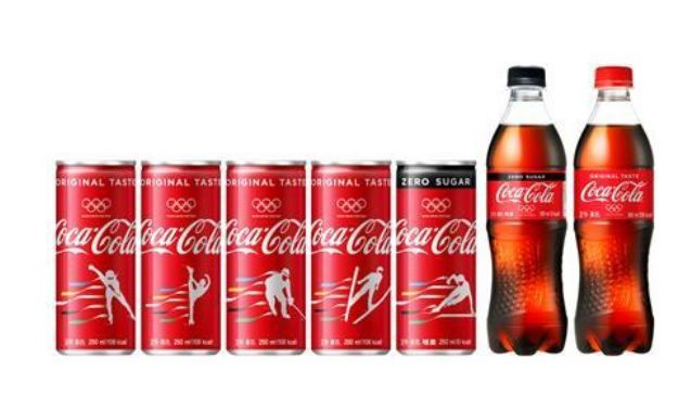 This image provided by Coca-Cola Beverage Co. on Dec. 6, 2017, shows its products with drawings of athletes to mark the PyeongChang 2018 Winter Games, which will be held in the alpine county of PyeongChang, 180 kilometers east of Seoul, from Feb. 9-25. (Yonhap)