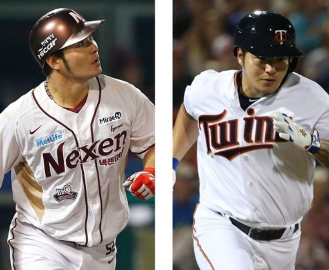 South Korean slugger Park Byung-ho has returned to the Nexen Heroes of the Korea Baseball Organization after a short and disappointing stint with the Minnesota Twins. These file photos show Park in a Nexen uniform (L) and a Twins uniform. (Yonhap)