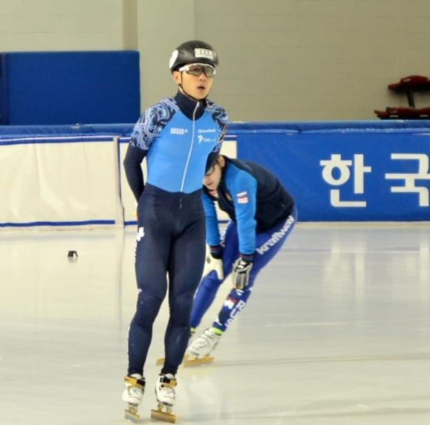 Russian short track speed skater Victor An practices at Korea National Sport University in Seoul on Dec. 6, 2017. (Yonhap)