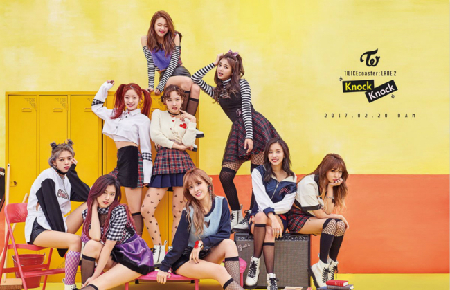 "A promotional image for ""Knock Knock,"" the lead track off Twice's February album ""Twicecoaster: Lane 2"" (JYP Entertainment)"