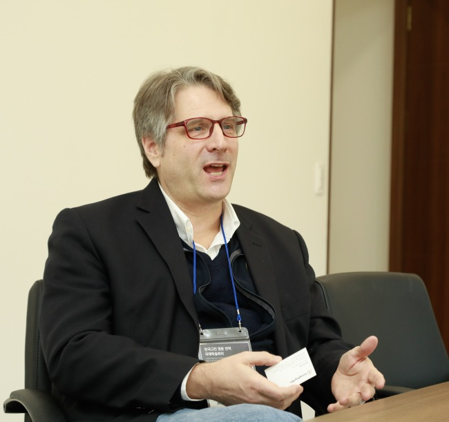 Ross King, professor of Korean language and literature, speaks at an interview at the Academy of Korean Studies on Friday. (Academy of Korean Studies)