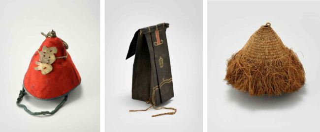 Hats from 19th-century Korea. From left: gunryebokdagi, a hat worn by a soldier dealing with prisoners; jinhyeongwang, worn by musicians, and songnak, worn by Buddhist monks. (National Research Institute of Cultural Heritage)