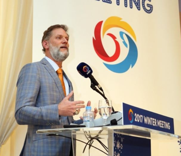 In this photo provided by the Korea Baseball Organization, Joe Januszewski, executive vice president and chief revenue and marketing officer for the Texas Rangers, gives a presentation during the KBO Winter Meeting in Seoul on Dec. 11, 2017. (Yonhap)