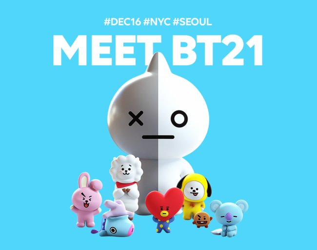 A promotional image for the launch of BT21's character products (Line Friends)