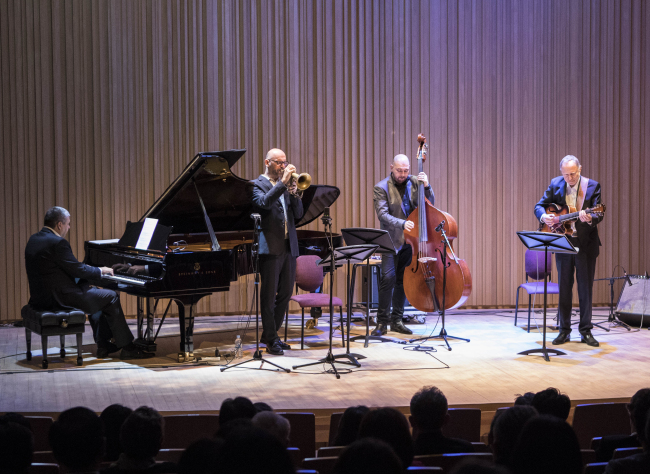 The Central European Jazz Connection, a quartet comprised of musicians from the Czech Republic, Hungary, Poland and Slovakia, plays at a concert at the JCC Art Center in Seoul on Wednesday. (Hungarian Embassy)