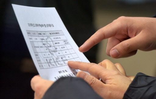 Students at Yeouido High School check their scores for the 2018 Suneung exam (Yonhap)