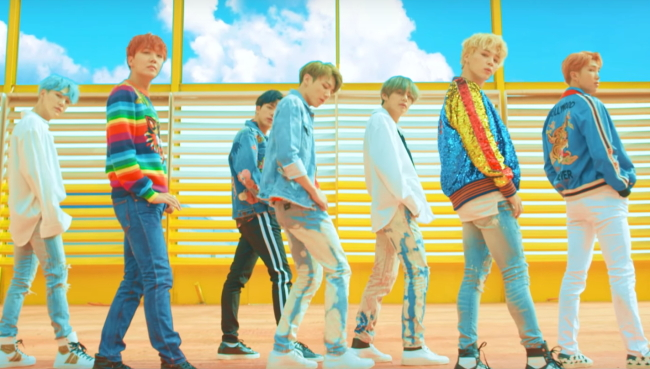 """BTS stars in the music video of """"DNA."""" (Big Hit Entertainment-YouTube)"""