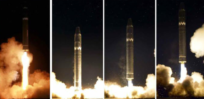 "North Korea test fires the ""Hwasong-15"" ICBM on Nov. 29. (Yonhap)"