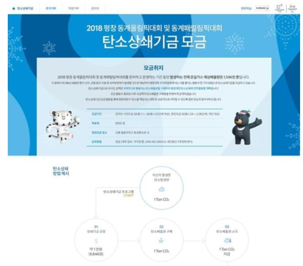 This image, taken on Dec. 28, 2017, shows the website of a fundraising campaign that the 2018 PyeongChang Winter Olympics and Paralympics organizing committee will launch as part of its efforts to offset carbon emissions from the preparation and operation of the sports event. (Yonhap)