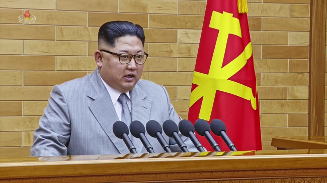 North Korean leader Kim Jong-un delivers a New Year message on Monday. (Yonhap)