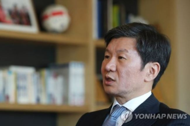 This file photo taken on Dec. 28, 2017, shows Korea Football Association President Chung Mong-gyu at his office in Seoul. (Yonhap)