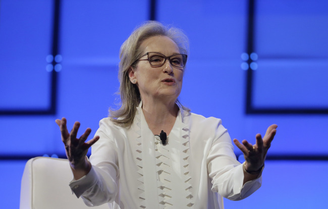Actress Meryl Streep speaks on Dec. 7, 2017, during the 13th annual Massachusetts Conference for Women in Boston. (AP/Yonhap)