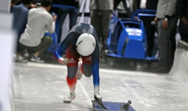 This file photo taken June 30, 2016, shows South Korean skeleton slider Jeong Sophia training at Olympic Sliding Centre in PyeongChang, Gangwon Province. (Yonhap)