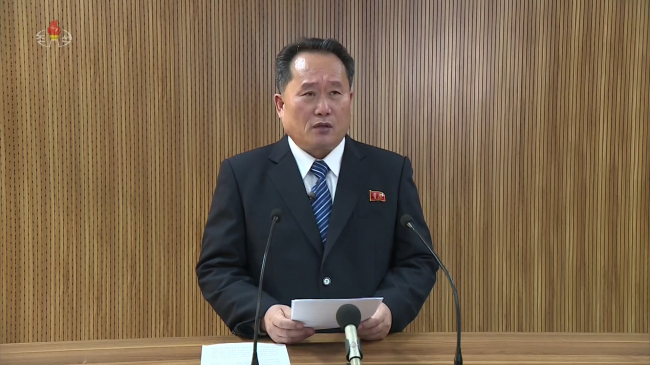 Ri Son-gwon, chairman of the Committee for the Peaceful Reunification of the Country of the DPRK, reads a statement on North Korea`s state-run broadcaster Korean Central Television on Wednesday. (Yonhap)