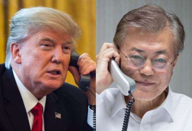 US President Donald Trump and his South Korean counterpart Moon Jae-in. (Yonhap)