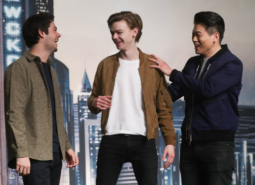 Dylan O'Brien, Thomas Brodie-Sangster and Lee Ki-hong (Yonhap)