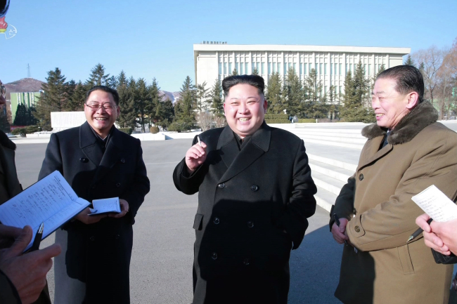 North Korea`s leader Kim Jong-un conducts inspection on science academy in his first public event since his New Year's address. Yonhap