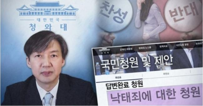 Cho Kuk on online petition to legalize abortion(Yonhap)